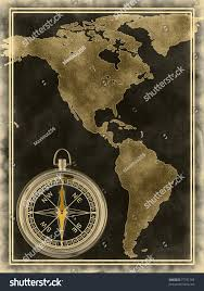 Old Map South America by Map Compass North South America On Stock Illustration 77791369
