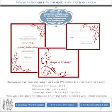 Diy Wedding Invitations Templates Wedding Invitation Templates Red Printable Diy Wedding Stationery