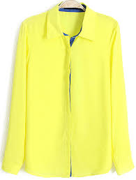 neon blouse lapel with buttons chiffon neon yellow blouse where to buy how