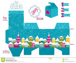 printable gift box with colorful snowcovered town stock vector