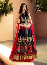 engagement lengha indian kalidaar suits in silk buy online navy blue indian