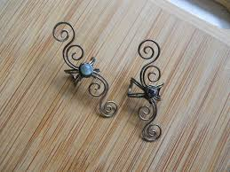 wire ear cuffs gunmetal wire wrapped ear cuffs one with kyanite and one with