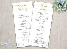 wedding ceremony programs diy gold wedding programs script calligraphy style diy