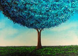 modern painting of abstract tree blue tree painting 5 x 7
