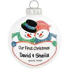 personalized our snow glass ornament