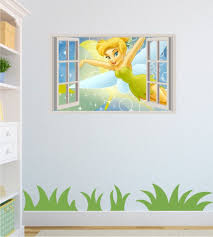 disney wall stickers wall art kids tinkerbell open window effect wall sticker