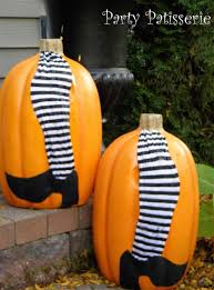 diy pumpkin with witches legs