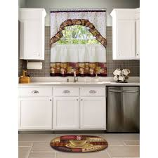 Coffee Themed Curtains Kitchen Curtain And Swag Set Coffee Walmart