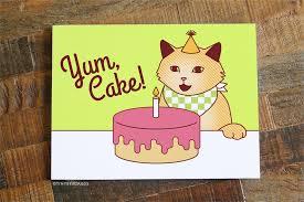 yum cake funny cat birthday card u2013 tiny bee cards