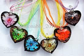 color flower necklace images Wholesale new multi color pretty love heart shape 3d flower murano jpg