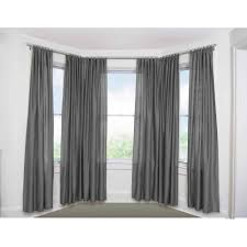 decor awesome gray curtains with glass bay window also bay window