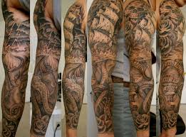 collection of 25 black and white nautical tattoos sheet