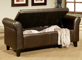 Hinged Storage Ottoman Leather Storage Ottoman Bench Treenovation Pertaining To Storage