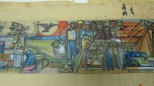 sketch of early chicano mural discovered kcet