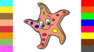 coloring book and drawing starfish learning how to paint with