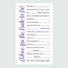 items similar to bridal shower advice cards printable game