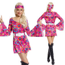 retro flower go go dress groovy hippie fancy dress 60s 70s