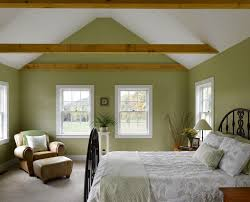 green painted walls bedroom farmhouse with vaulted ceiling