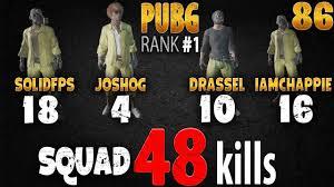 pubg rankings pubg rank 1 48 kills squad joshog iamchappie solidfps