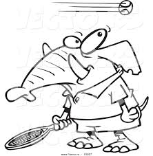 vector of a cartoon tennis elephant outlined coloring page