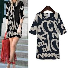 fashion women summer loose mid sleeves letter tattoo printed tops