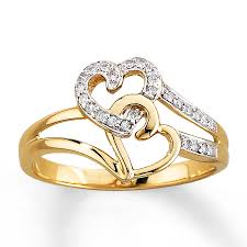 heart rings diamond images Kay diamond heart ring 1 10 ct tw round cut 10k yellow gold jpg