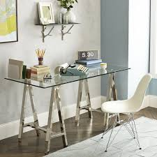 Home Office Glass Desks Cross Base Desk Polished Nickel West Elm