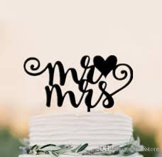 Wedding Cake Accessories 2017 Black Acrylic Wedding Cake Topper Initials Cake Topper Mr And