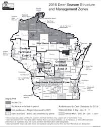 Wisconsin Map by Wisconsin Whitetail News 2016 Deer Management Zone Map