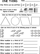 one third fractions worksheet match the words to the pictures