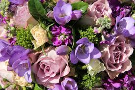 bridal flowers in different shades of purple stock photo picture