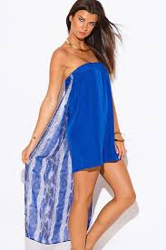 shop royal blue snake animal print chiffon cape high low strapless