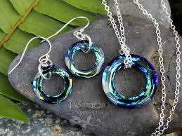 crystal ring necklace images Cosmic rings necklace earring set blue green crystal on jpg