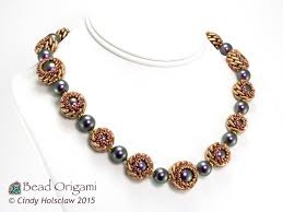 beaded beads necklace images Bead origami new beading video weaving beaded beads with two JPG