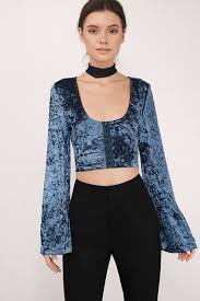 weskit blouse trendy black crop top black top bell sleeve top black crop