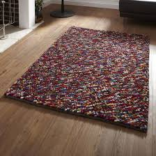 Modern Orange Rugs by Pebbles Multi Coloured Pb 10 Hand Knotted Modern Shaggy Rug