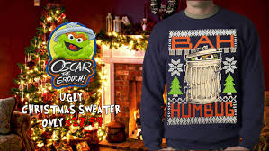 official sesame street oscar grouch bah humbug ugly christmas
