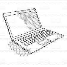 drawn notebook laptop computer pencil and in color drawn
