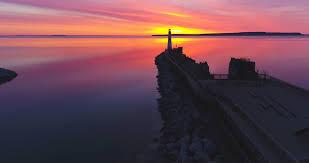 Light Of Dawn Wawatam Lighthouse In The Stunning Light Of Dawn Saint Ignace