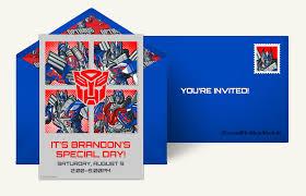 optimus prime birthday party free transformers invitations transformers online invitations