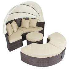 Buy Cane Sofa Set Online India Amazon Com Outdoor Patio Sofa Furniture Round Retractable Canopy