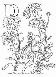 alphabet elf letter d coloring pages little elf wearing flower hat