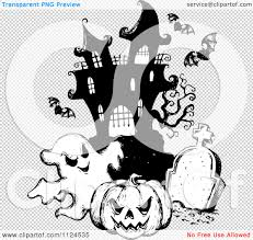 haunting halloween background clipart of a sketched black and white haunted house with a