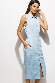 shop light blue chambray sleeveless button up cut out twisted back