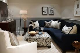 interior engaging basement living room decoration using l shape