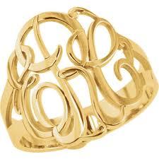 gold monogram ring 3 letter script monogram ring