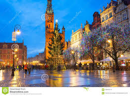 christmas tree and decorations in old town of gdansk editorial