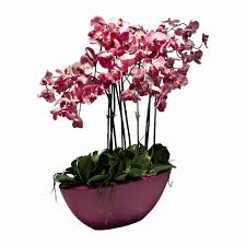 pink phalaenopsis orchid faux plant arrangement pink boat vase