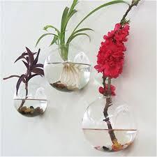 Wall Mounted Glass Flower Vases Terrariums Semicircular Wall Hanging Glass Vase Terrarium
