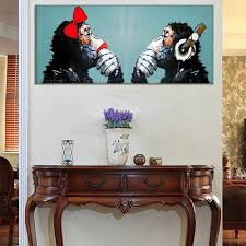 hand painted modern couples orangutans picture canvas wall art